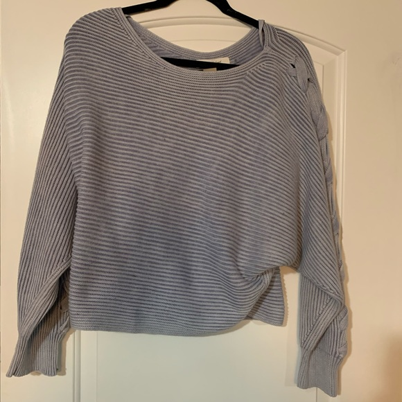 NWT Mustard Seed Cropped Blue Sweater